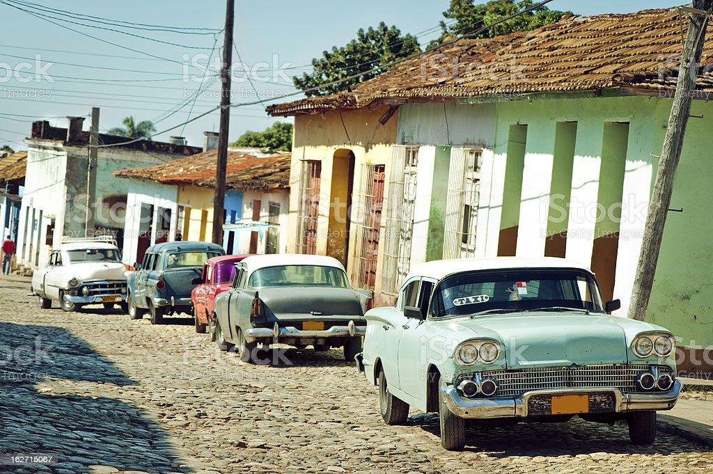 Taxi at a street of Trinidad, Cuba royalty-free stock photo
