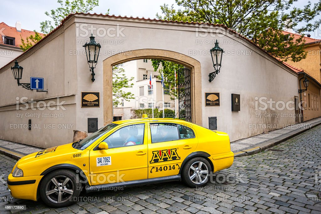 Taxi at the entrance of Mandarin Oriental Hotel, Prague stock photo