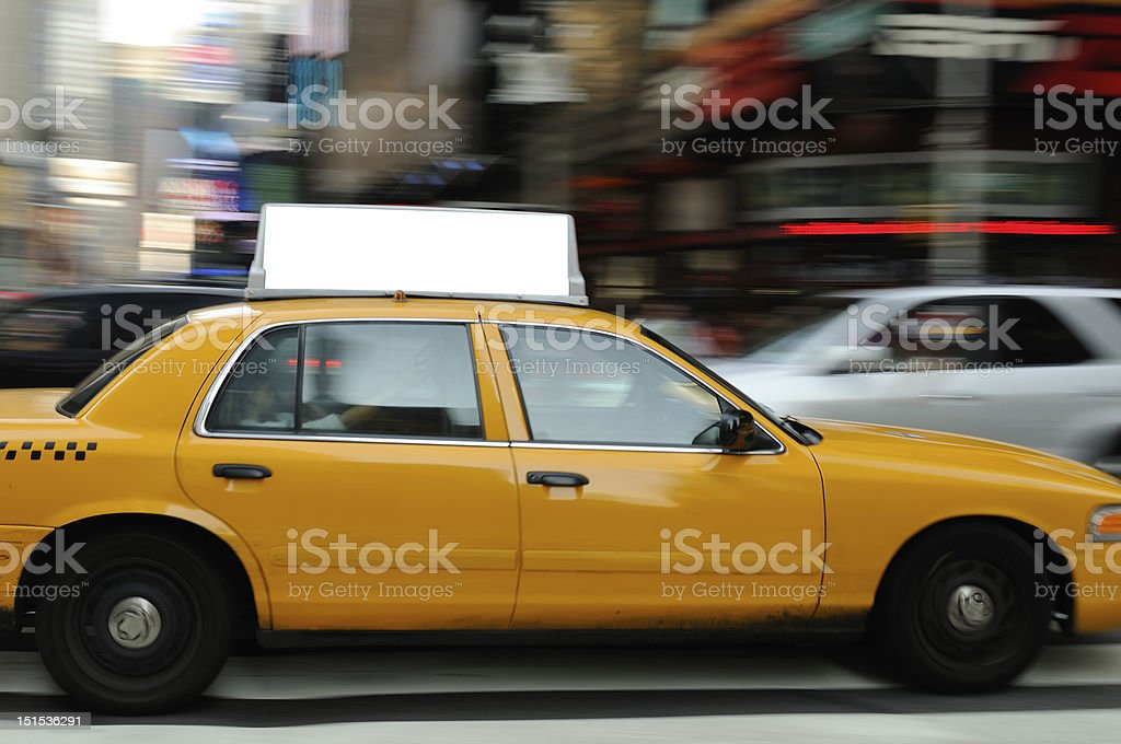 Taxi Billboard in Times Square stock photo