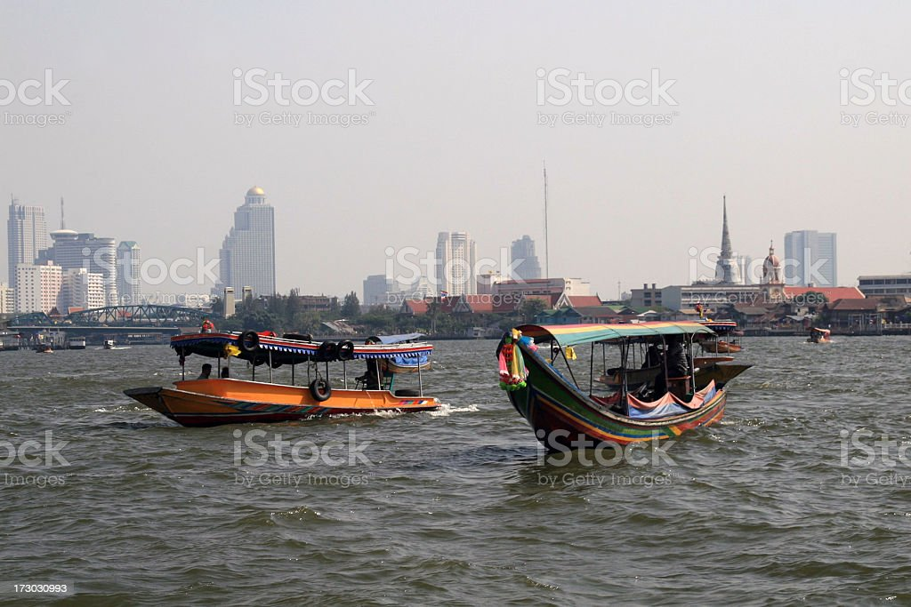 Taxi Boats on Water in Bangkok stock photo