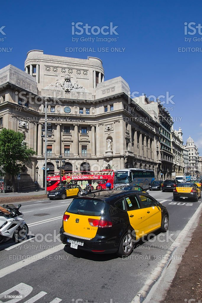 Taxi cab in Barcelona, Spain stock photo