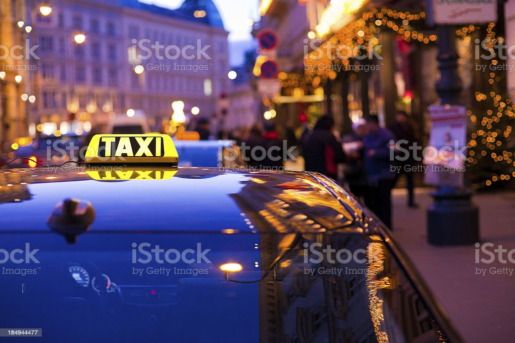 Taxi Car in Vienna at Night royalty-free stock photo