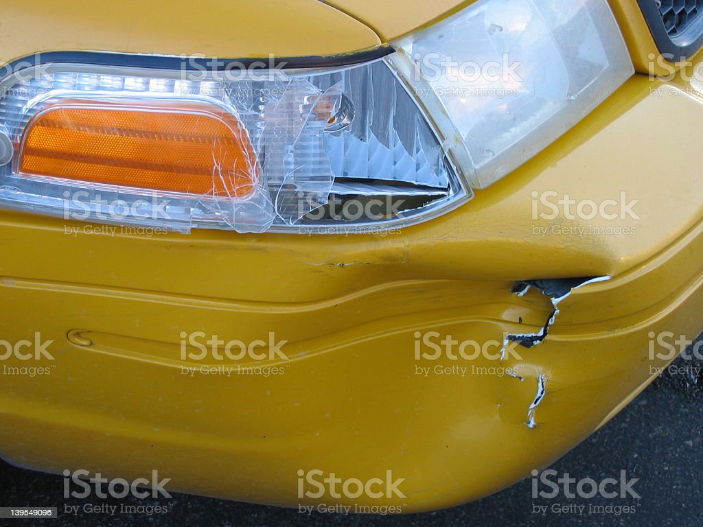 Taxi Crash Damage Detail royalty-free stock photo