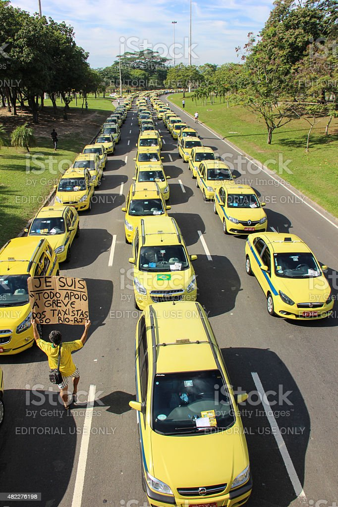 Taxi drivers protest against Uber app in Rio de Janeiro stock photo