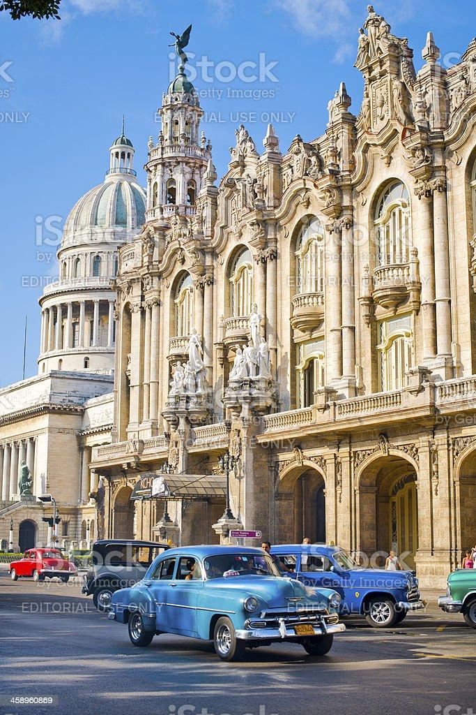 Taxi driving in the center of La Havana, Cuba stock photo