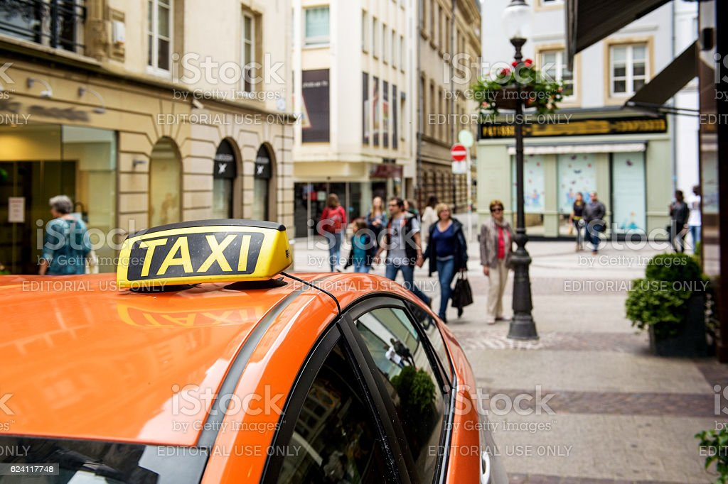 Taxi Europe Luxembourg waiting for clients on shopping street stock photo