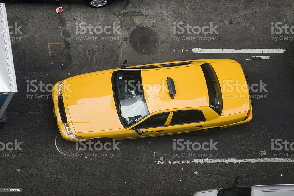 Taxi from above royalty-free stock photo