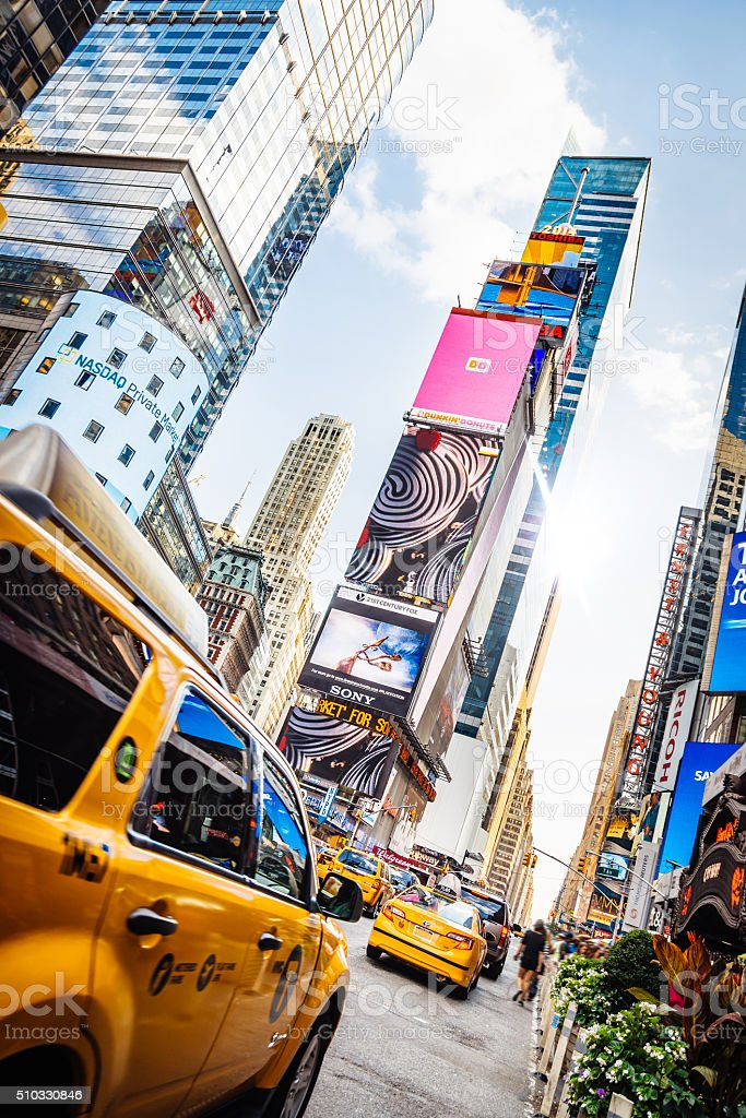 Taxi goes fast in Times Square, New York stock photo