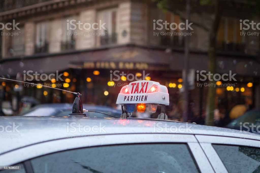 Taxi in Paris stock photo