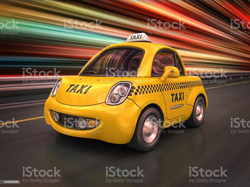 taxi in the city stock photo