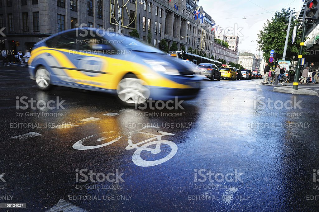 Taxi in the city traffic, rush hour royalty-free stock photo