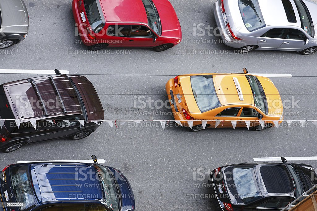 Taxi in the traffic jam royalty-free stock photo