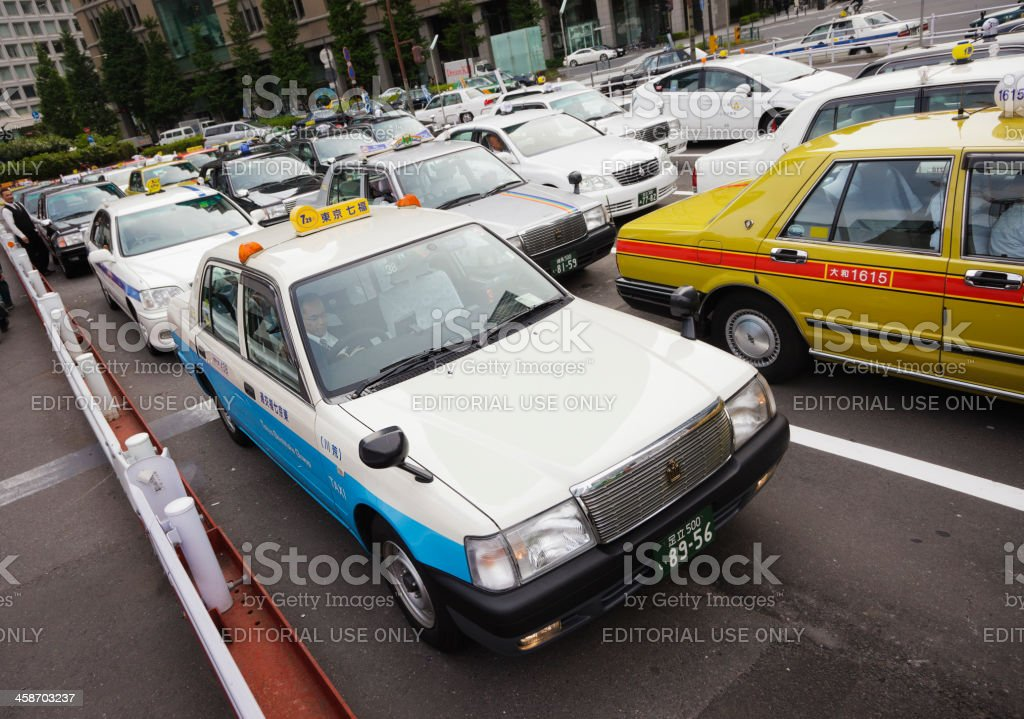 Taxi Line at Tokyo Station royalty-free stock photo