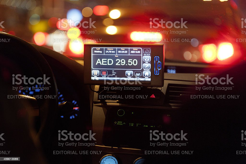 taxi meter in Dubai stock photo