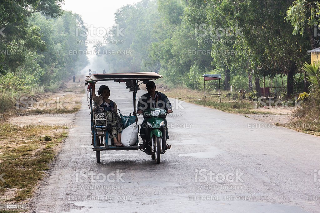 taxi on a coutry road stock photo