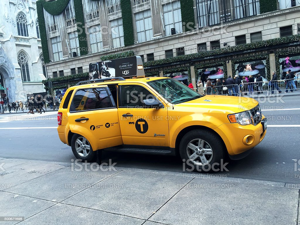 NYC Taxi on Fifth Avenue stock photo