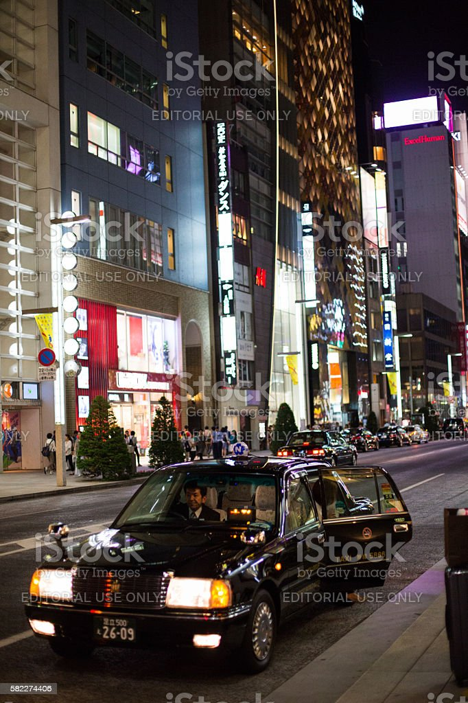 Taxi on Ginza stock photo