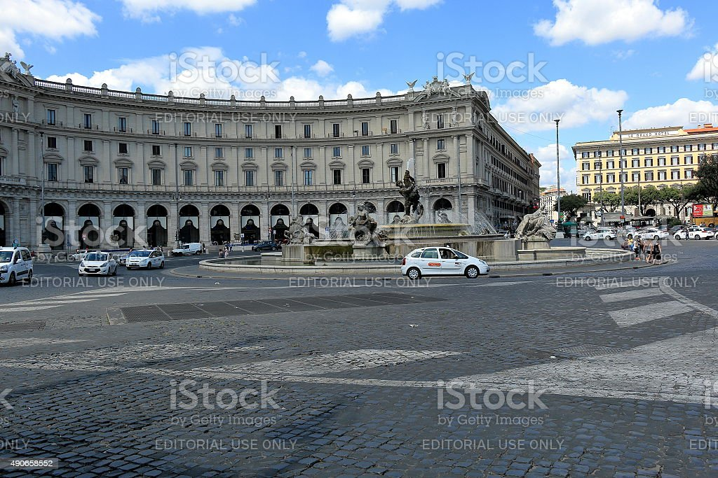 Taxi on Piazza della Republica in Rome stock photo