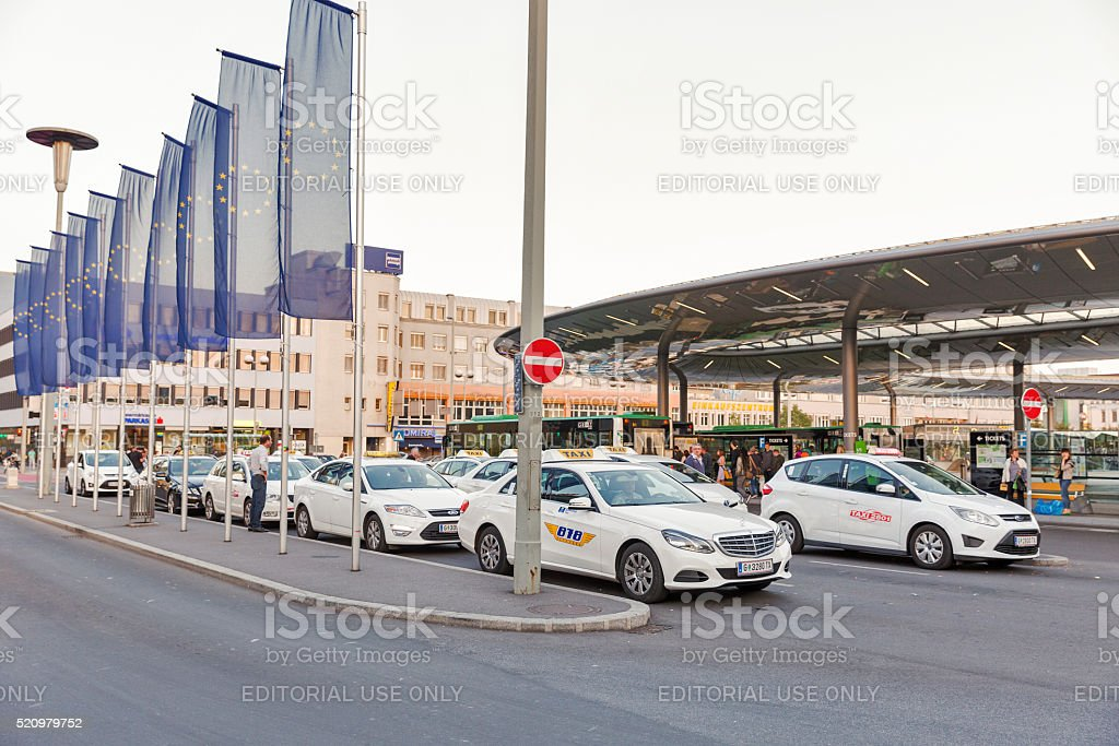 Taxi parking near Graz Hauptbahnhof railway station in Austria. stock photo
