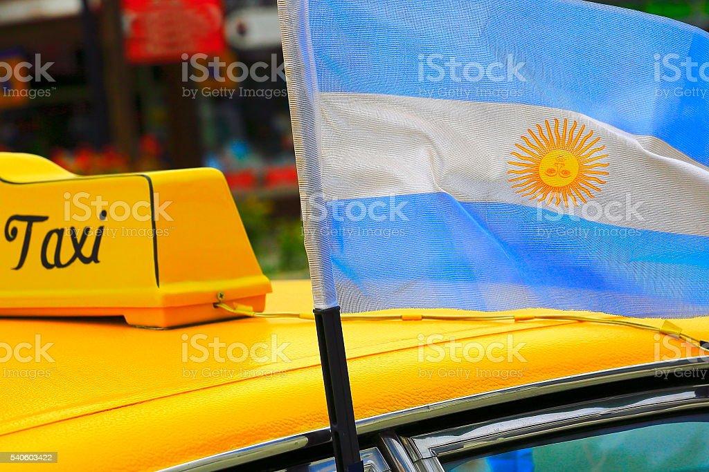 Taxi, patriotic Argentinean flag, Ezeiza airport, Buenos Aires - Argentina stock photo