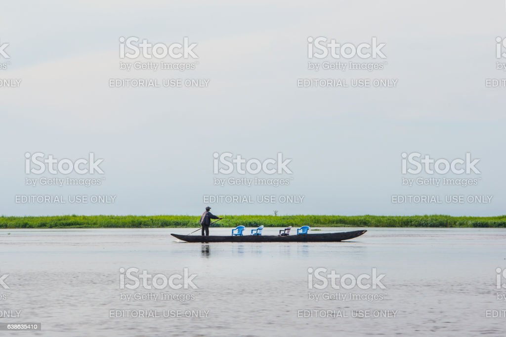 Taxi pirouge at the Congo River stock photo
