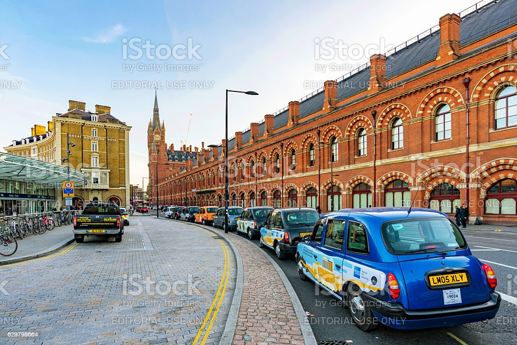 Taxi rank outside Kings Cross St pancras station stock photo