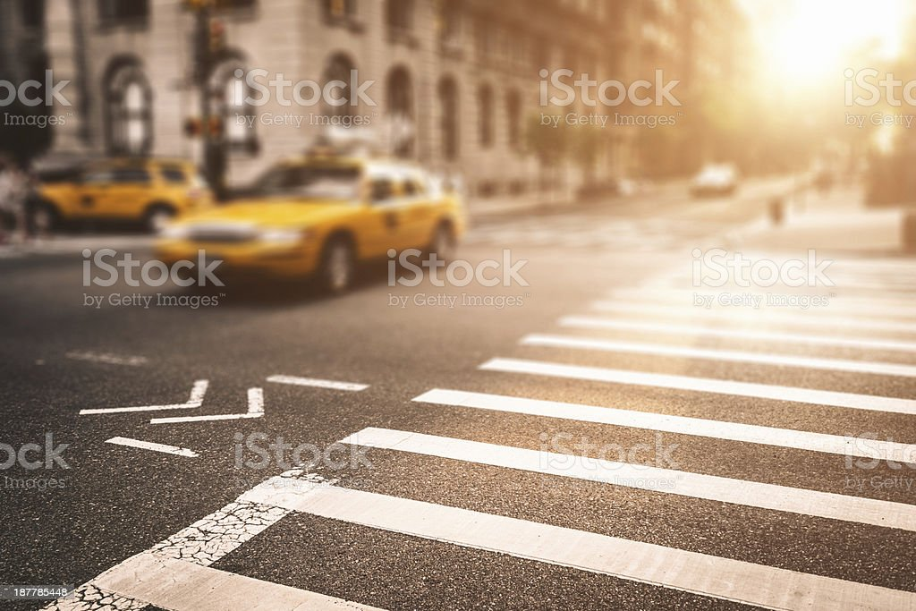 taxi running fast on nyc royalty-free stock photo