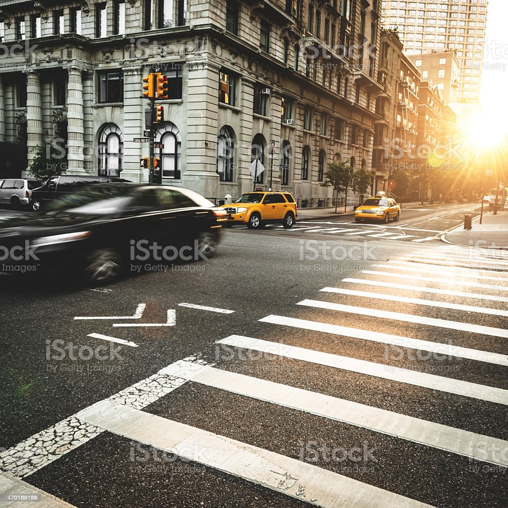 taxi running fast on nyc stock photo