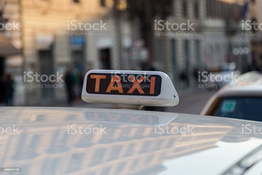 Taxi Sign in Rome stock photo