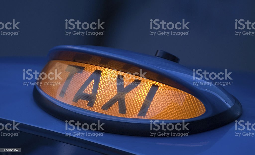 Taxi Sign on London Black Cab UK stock photo