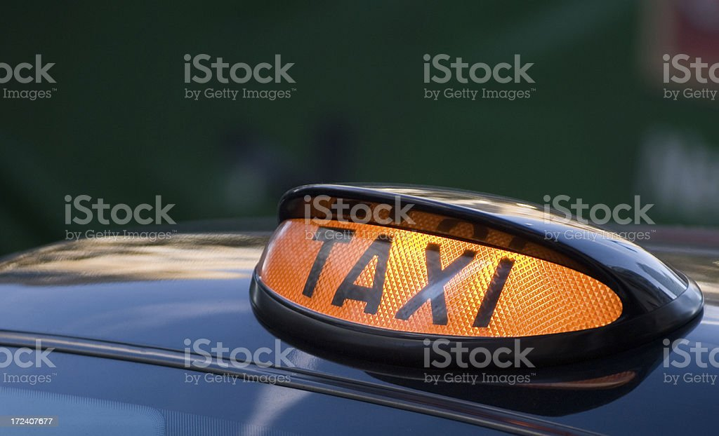 Taxi Sign on London Black Cab UK royalty-free stock photo