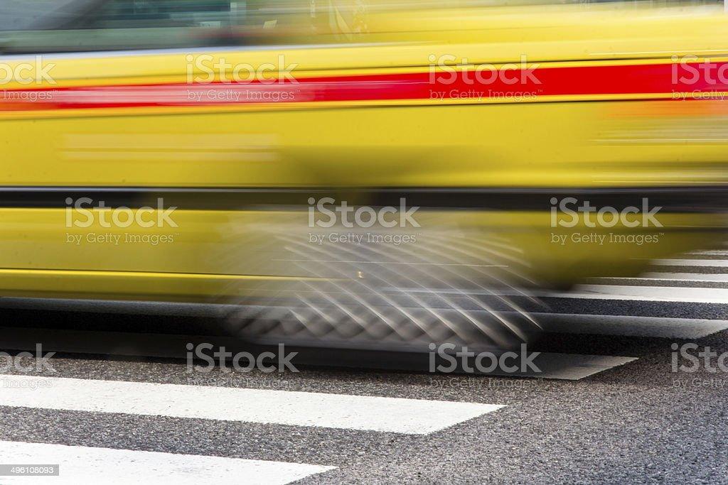 Taxi Speeding in motion  tokyo, japan royalty-free stock photo