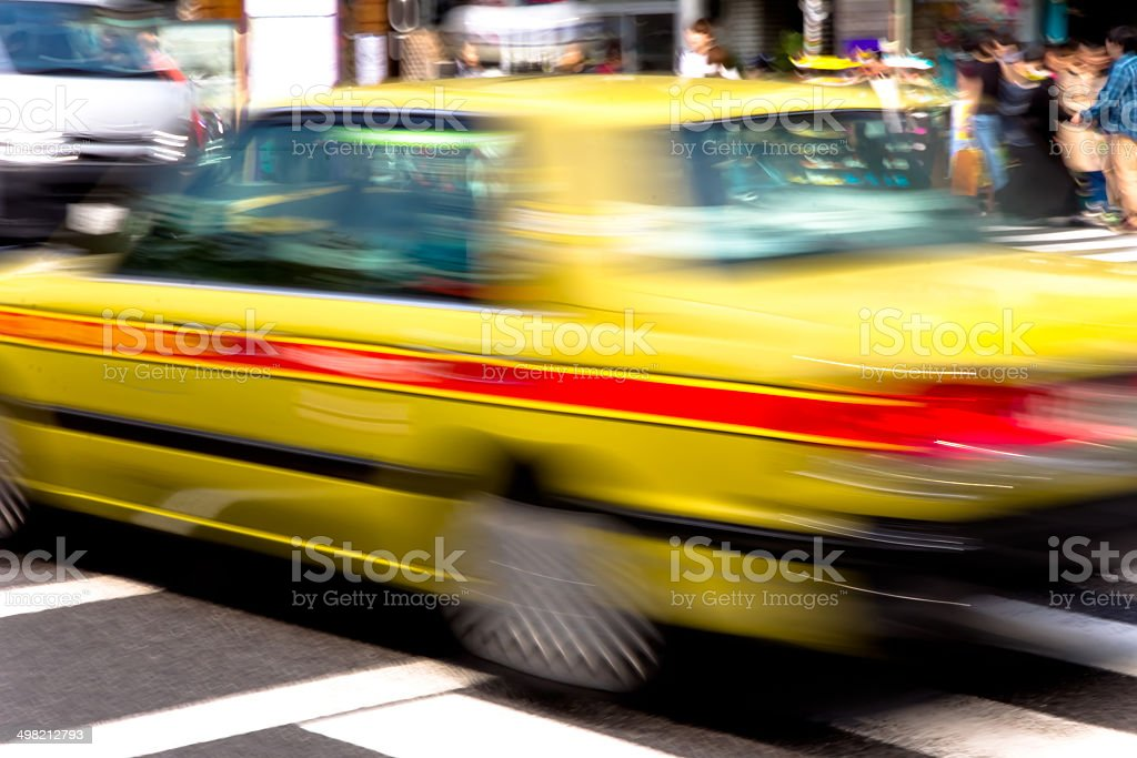 Taxi Speeding in motion tokyo, japan royalty-free stock photo