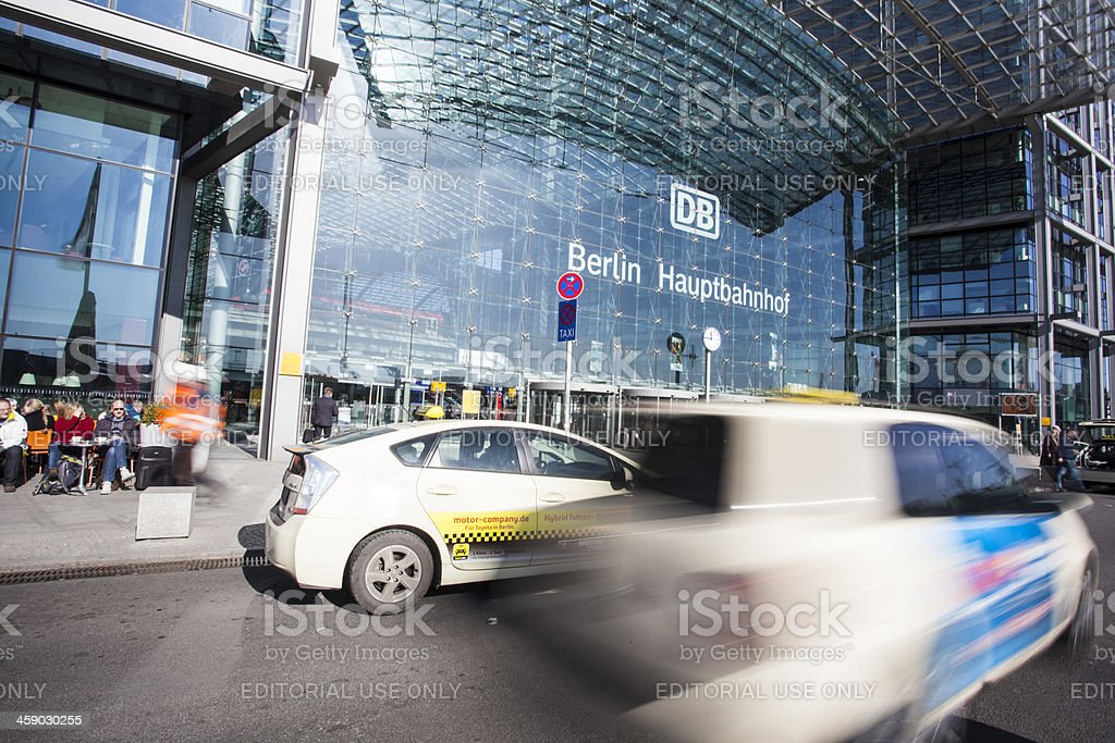 Taxi speeding towards Berlin's Hauptbahnhof station. royalty-free stock photo