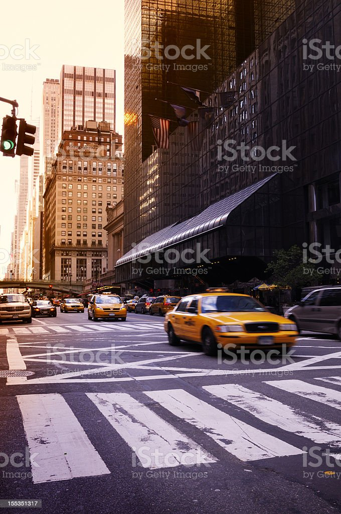 Taxi Traffic at Sunset,NYC. stock photo