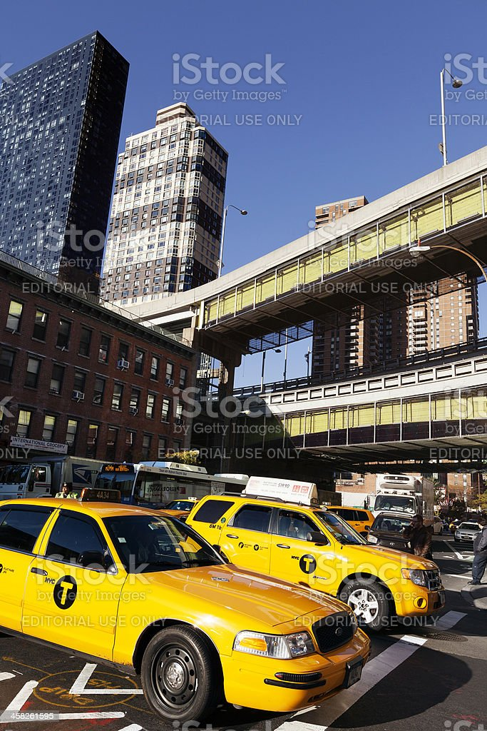 NYC Taxi Traffic by Port Authority Bus Terminal stock photo
