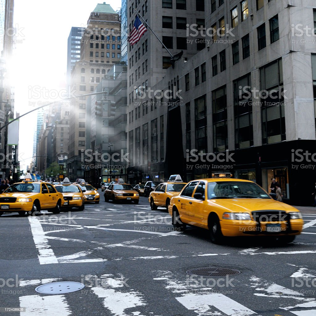 Taxi Traffic Jam, Downtown NYC stock photo