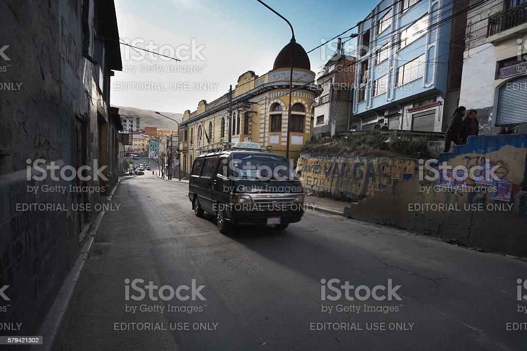 Taxi Van in La Paz stock photo