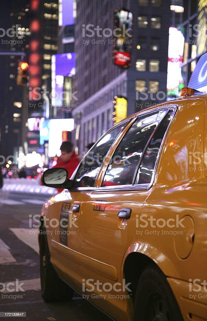 Taxicab In Times Square royalty-free stock photo