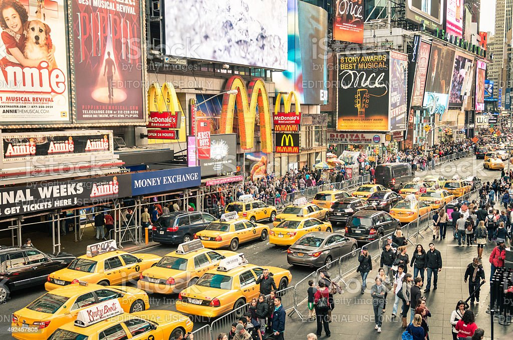 Taxicabs traffic congestion in Times Square - New York City stock photo
