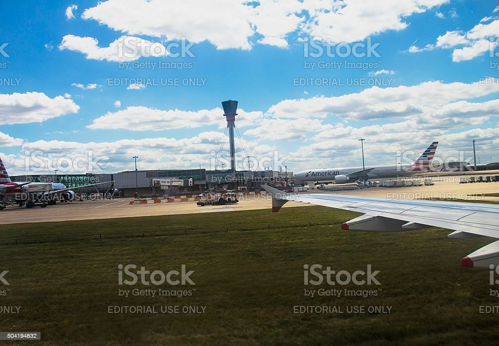 Taxiing aircraft  after landing in Heathrow Airport . London. Uk stock photo
