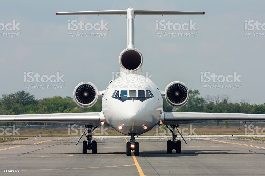 Taxiing aircraft. Front view royalty-free stock photo