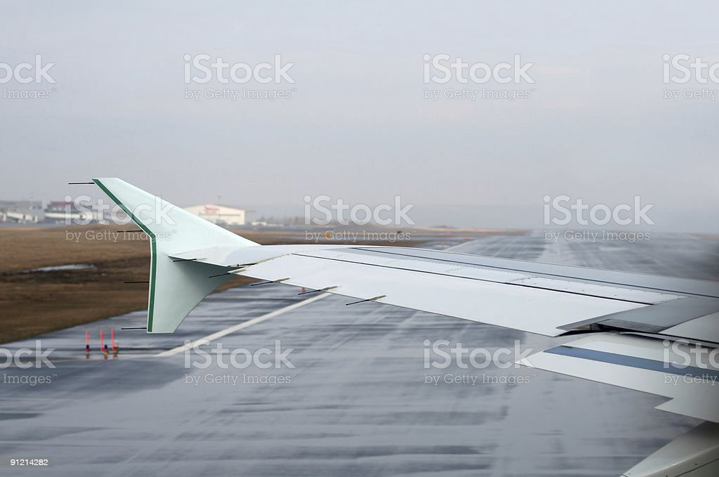 Taxiing Onto The Active Runway stock photo