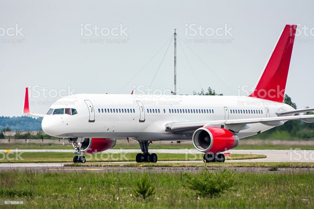 Taxiing plane from the runway royalty-free stock photo
