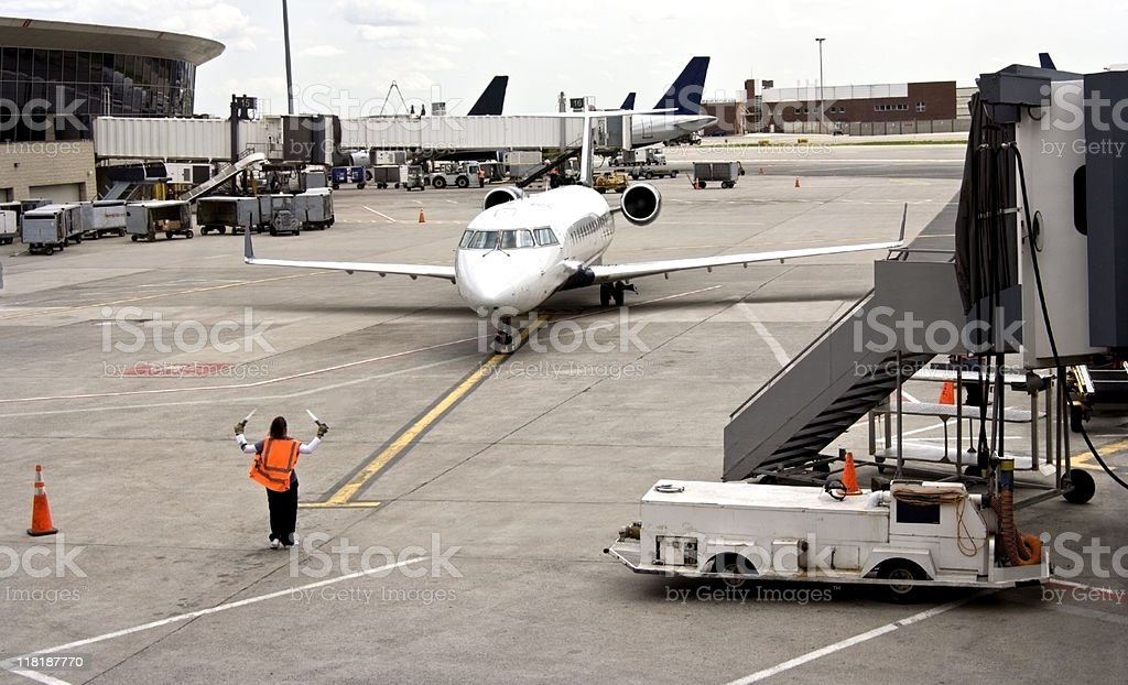 Taxiing to Gate stock photo