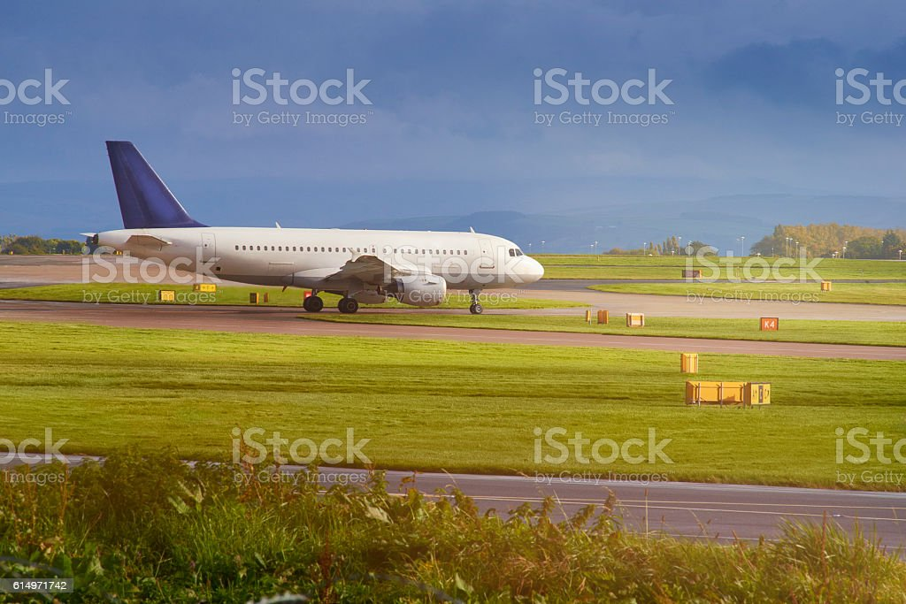Taxiing to the runway stock photo