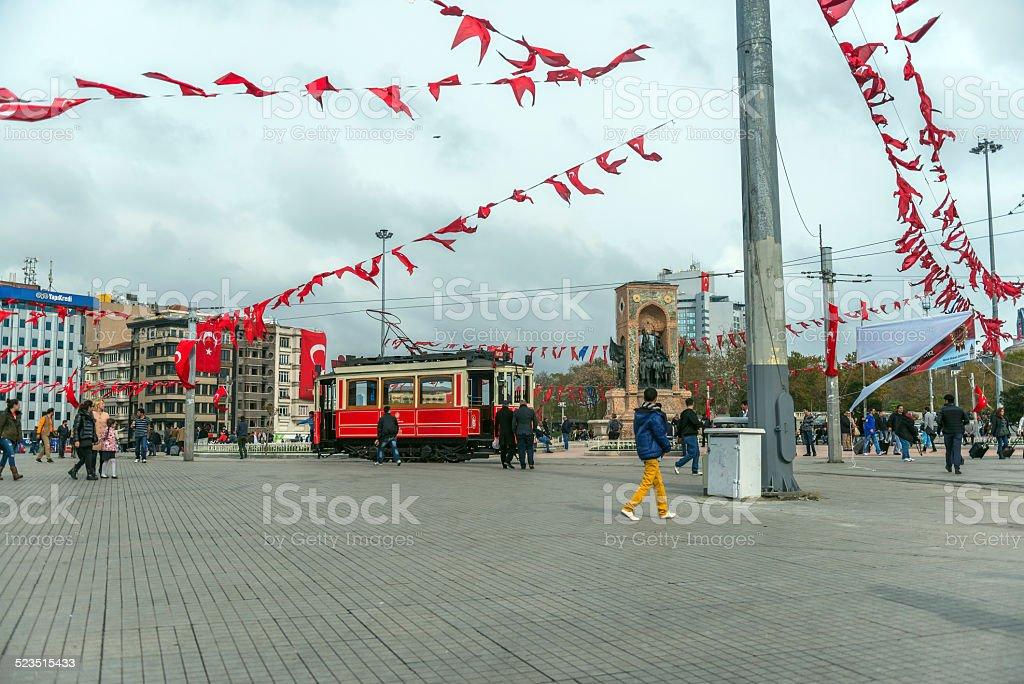 Taxim Square, Tramway, Flags on Republic Day, Beyoglu, Istanbul, Turkey stock photo