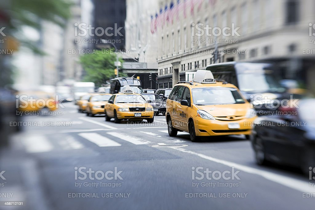 Taxis at Fifth avenue stock photo