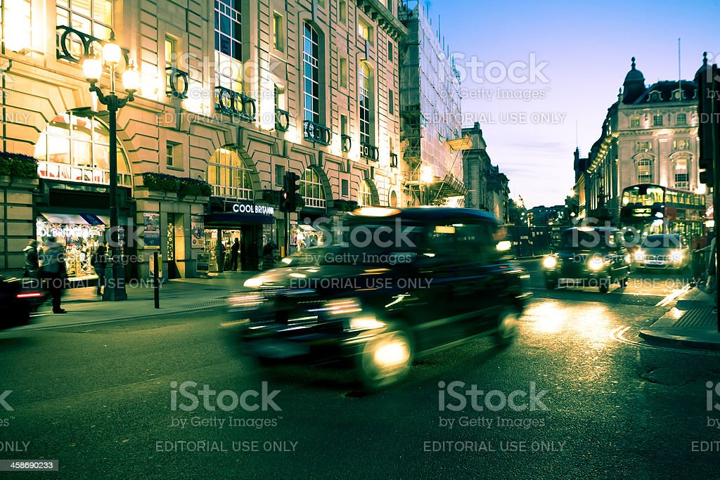 Taxis at picadilly circus stock photo