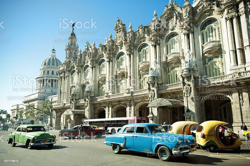 Taxis driving in the center of La Havana, Cuba stock photo